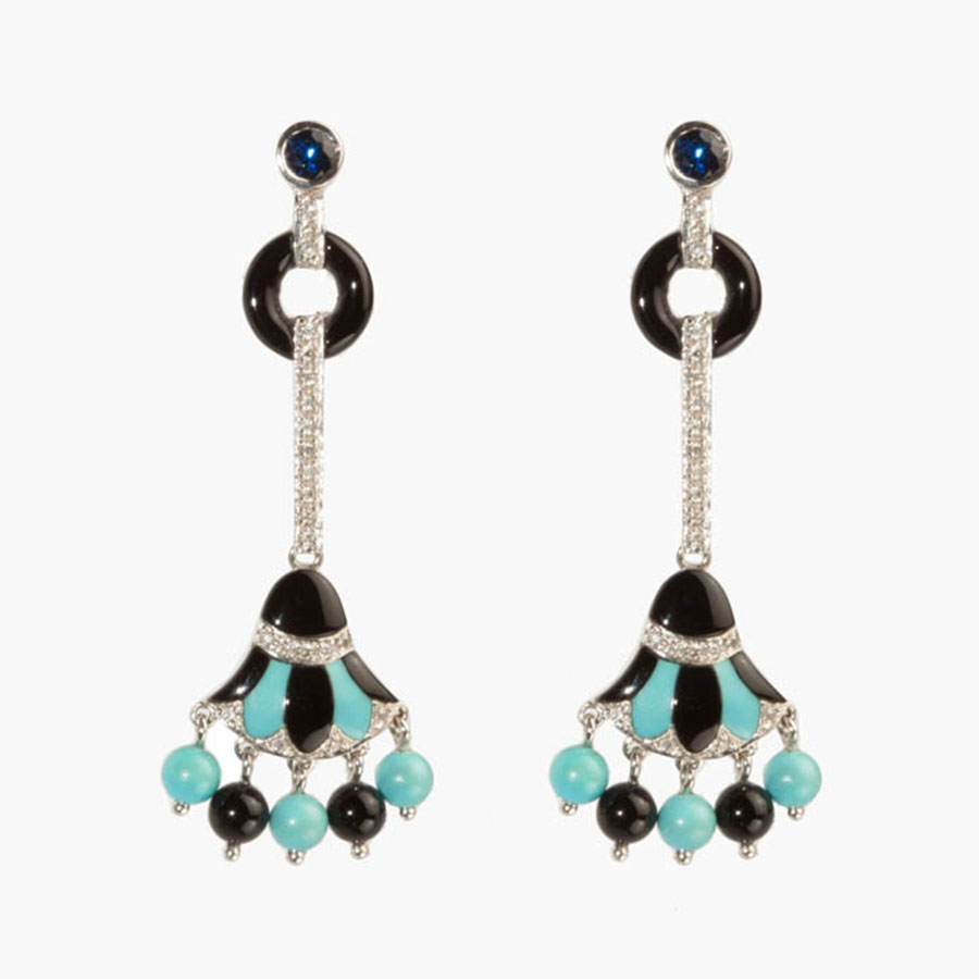 Art Deco Inspired Papyrus Drop Earrings