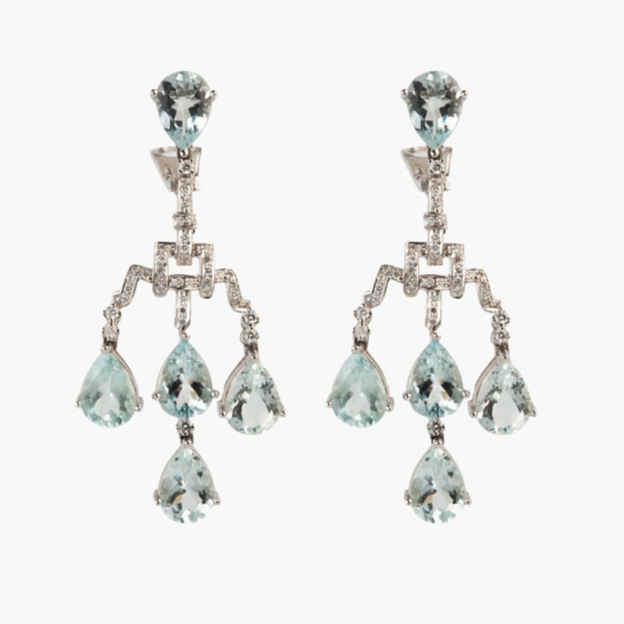 Exquisite Aquamarine And Diamond Chandelier Earrings