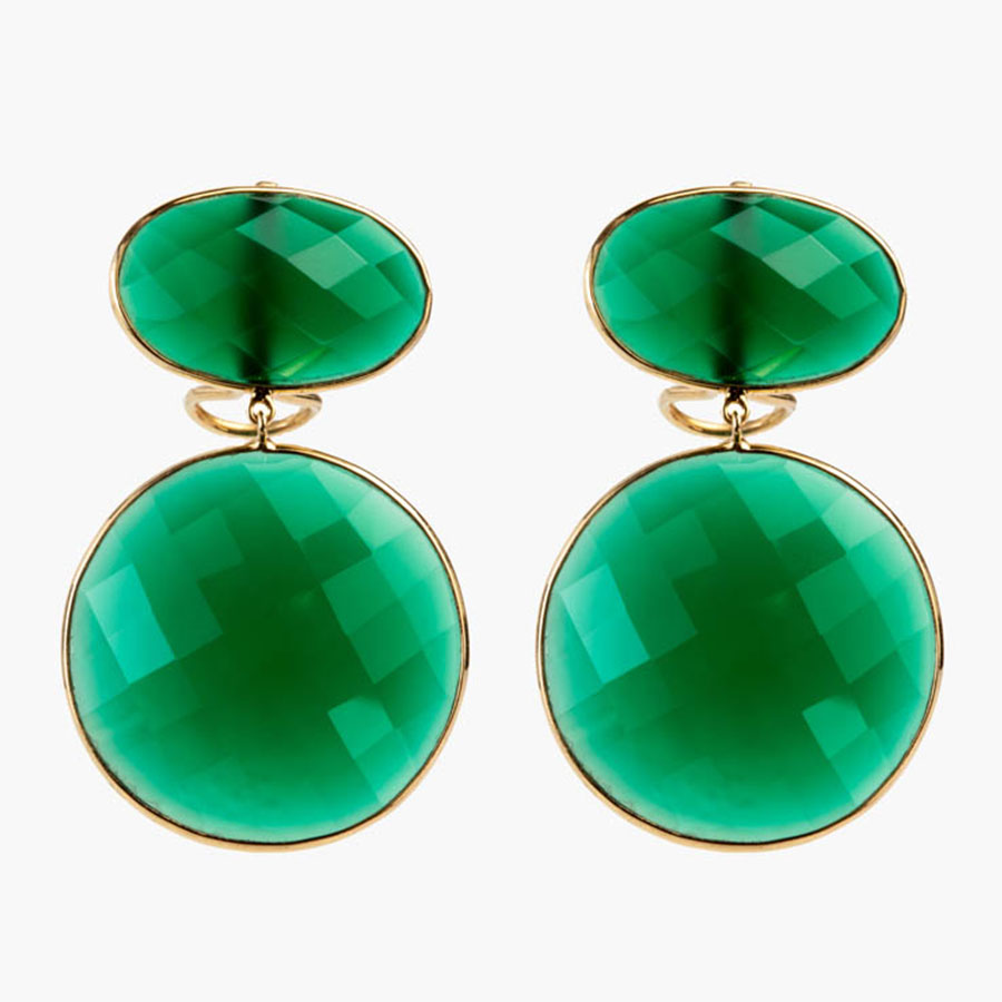 Ornamental Green Onyx Drop Earrings